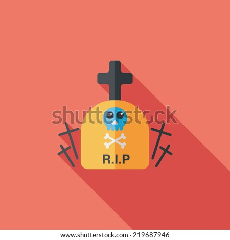 grave flat icon with long shadow,eps10 - stock vector