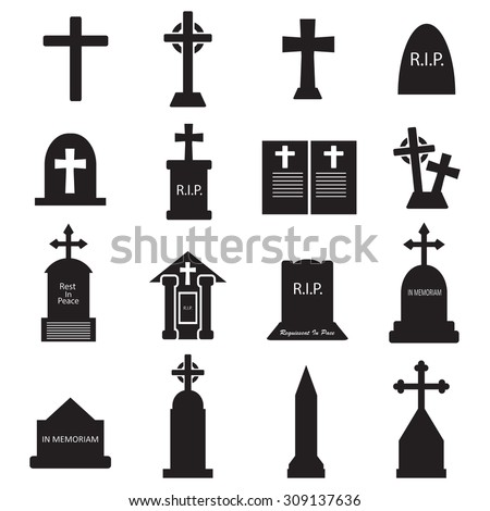 Grave - gravestone icon set