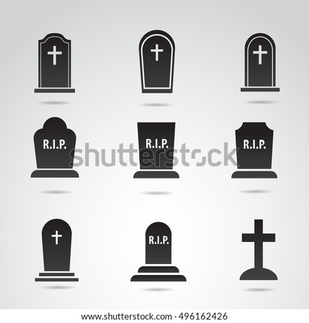 Grave icon set isolated on white background. Vector art.