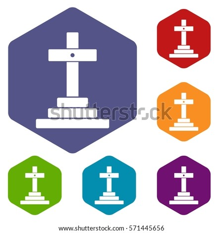 Grave icons set rhombus in different colors isolated on white background