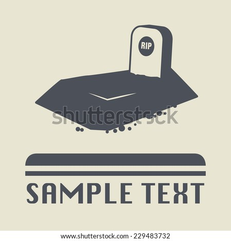 Grave with tombstone icon or sign, vector illustration - stock vector