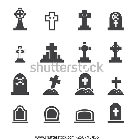 graves icon - stock vector