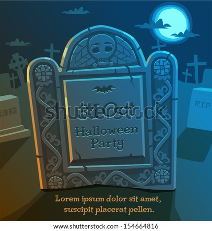 Gravestone. Halloween background. - stock vector