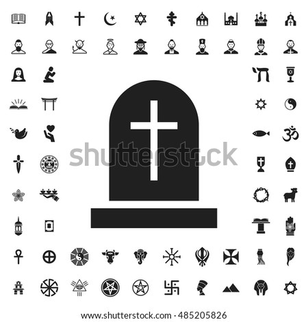 Gravestone icon illustration isolated vector sign symbol