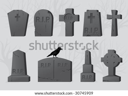 Gravestones - stock vector