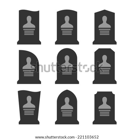 Gravestones set. Different shapes with portrait template. - stock vector