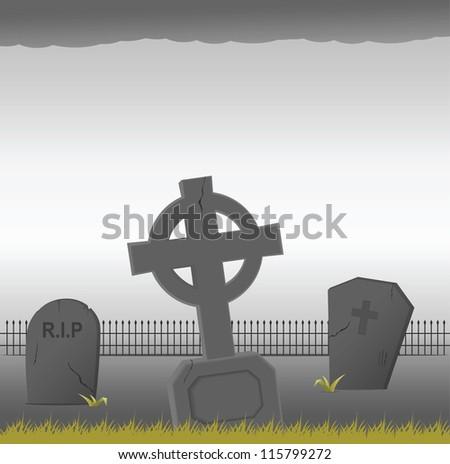 Gravestones. Vector illustration - stock vector