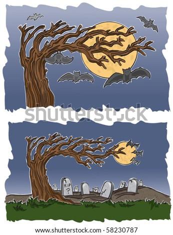 Graveyard and Bats - stock vector