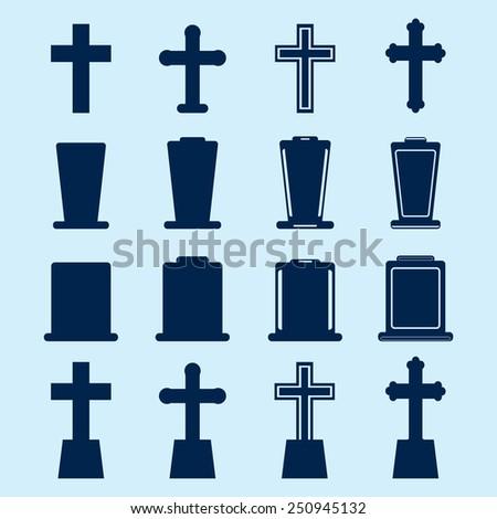 Graveyard Icons - stock vector