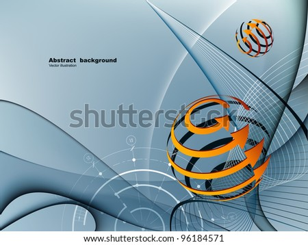 Gray abstract background with bright elements - stock vector