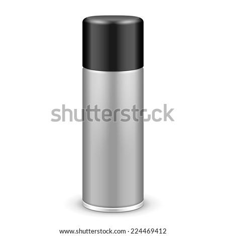 Gray Aerosol Spray Metal Bottle Can With Lid Cap: Paint, Graffiti, Deodorant EPS10  - stock vector