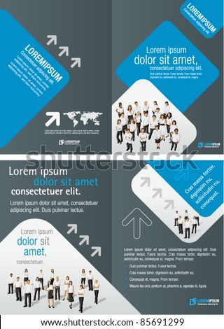 Gray and Blue template for advertising brochure with business people - stock vector