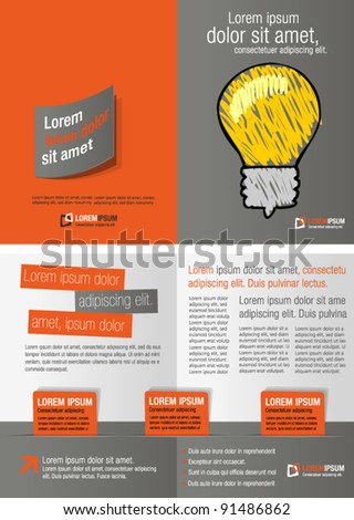 Gray and orange template for advertising brochure with idea light bulb - stock vector