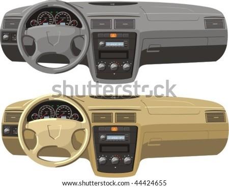 gray and tan car dash boards - stock vector