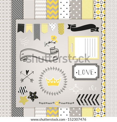 Gray and Yellow Design Elements:  pattern, frames, ribbon, tag, star, flag and seamless backgrounds. For design  or scrap booking. - stock vector