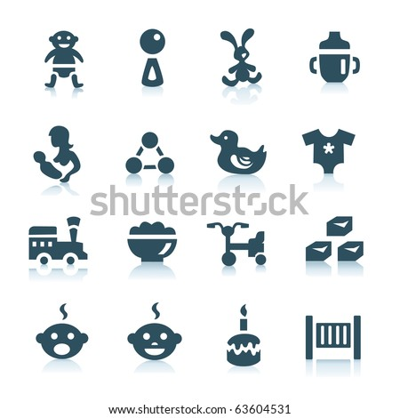 Gray baby icons, part 2 - stock vector