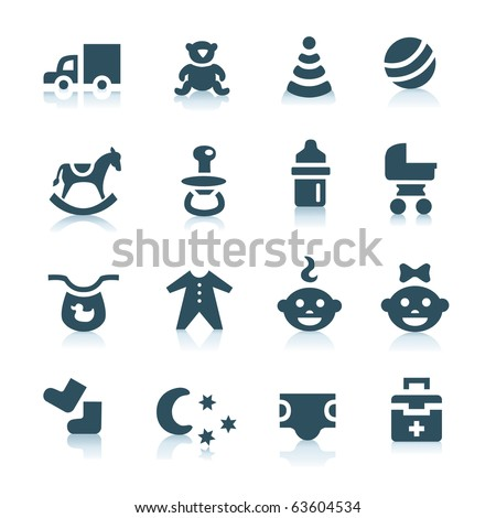 Gray baby icons, part 1 - stock vector