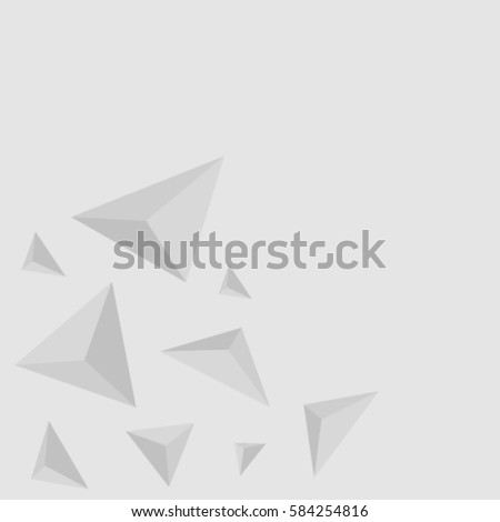 Gray background of 3D triangles. Vector.