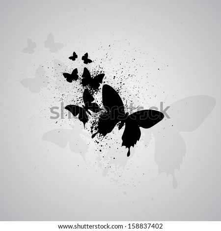 Gray background with black silhouettes of butterflies. eps10 - stock vector