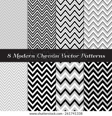 Gray black and white chevron patterns art deco backgrounds in thick and thin chevron