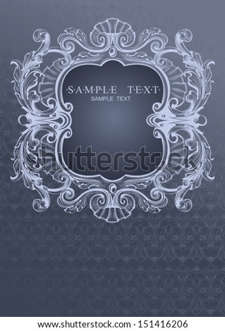 Gray Blue High Ornate Cover - stock vector