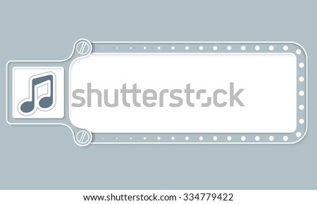 Gray box with white frame for your text and music symbol - stock vector