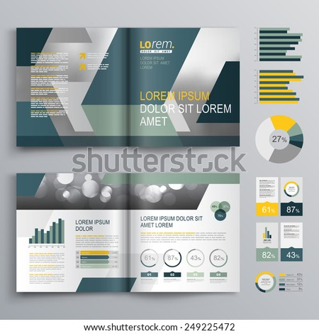 Gray brochure template design with blue and green geometric shapes. Cover layout and infographics - stock vector