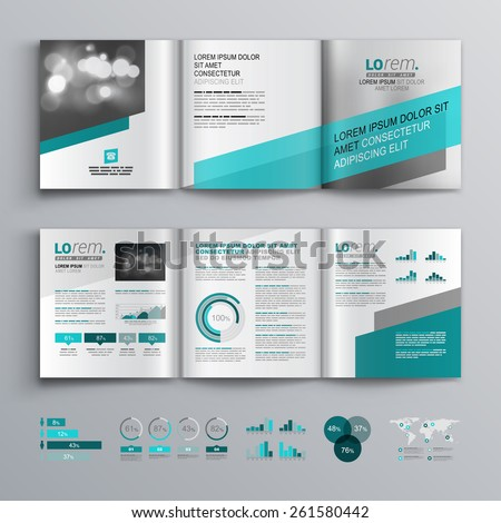Gray brochure template design with green diagonal shapes. Cover layout and infographics - stock vector