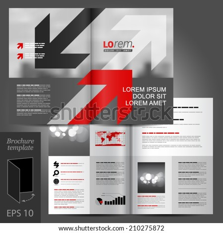 gray business vector brochure template design with red and black arrows