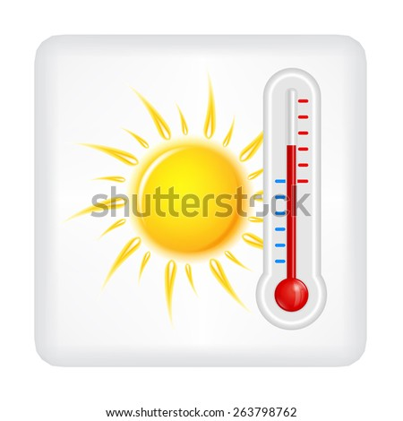 Gray button with yellow sun and red thermometer vector