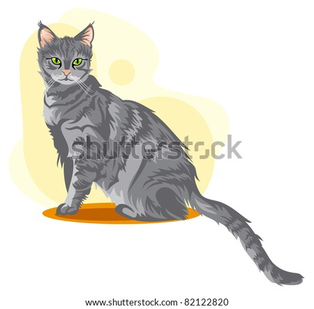 Gray cat - stock vector
