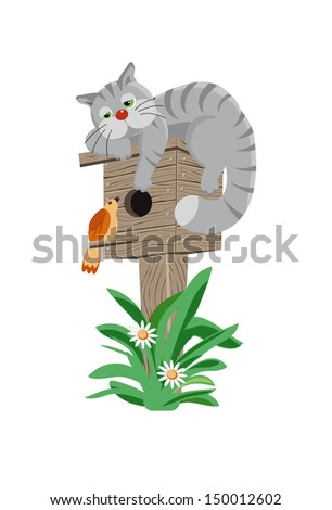 Gray cat on a birdhouse listens to the song birds - stock vector