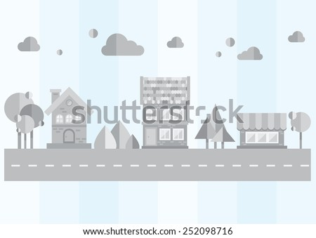 gray city on a blue background - stock vector