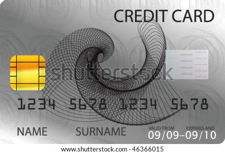 Gray credit card - stock vector
