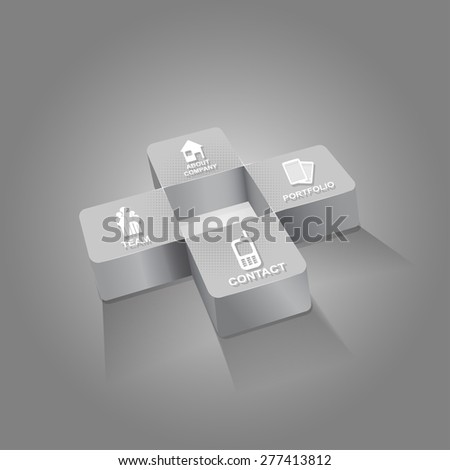 Gray cross background for companies with four icons for company presentation  - stock vector