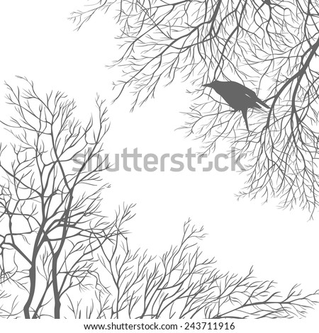 Gray crow on a tree branch. All elements can be painted and used separately. - stock vector