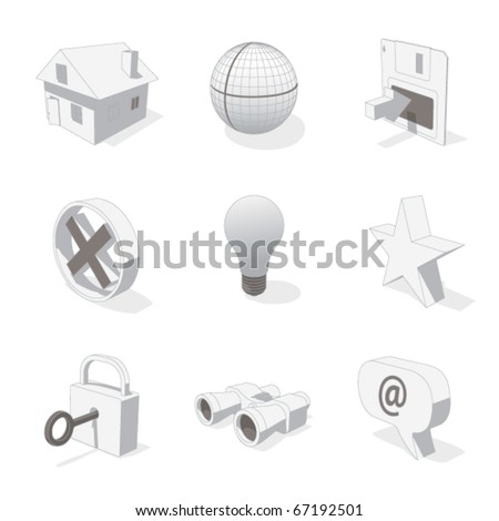 gray 3D icon set 01 - stock vector