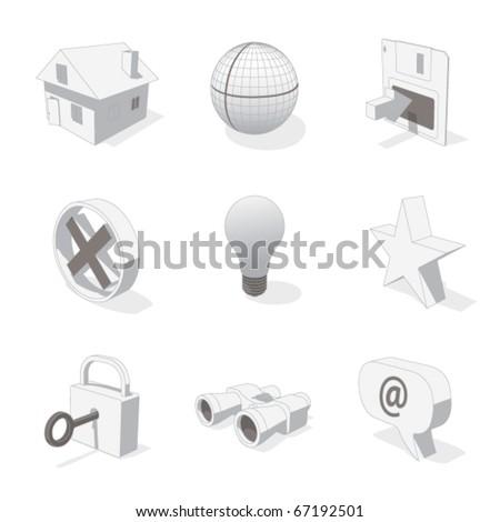 gray 3D icon set 01 - stock vector