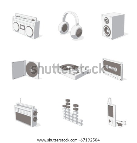 gray 3D icon set 07 - stock vector
