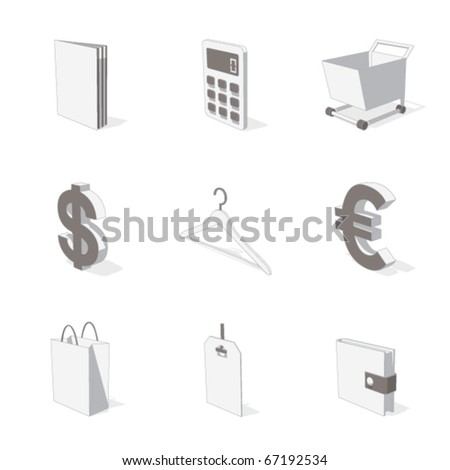 gray 3D icon set 06 - stock vector