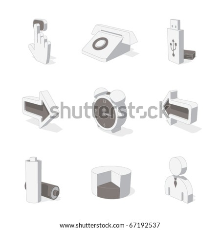 gray 3D icon set 03 - stock vector