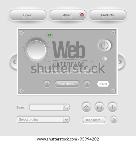 Gray Design Web UI Elements - stock vector