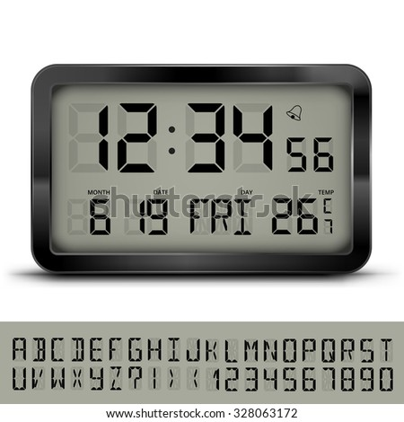 Gray digital clock and weather station with additional LCD font, vector eps10 illustration - stock vector