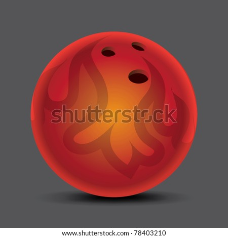 Gray flame-patterned bowling ball on the floor drawing - stock vector