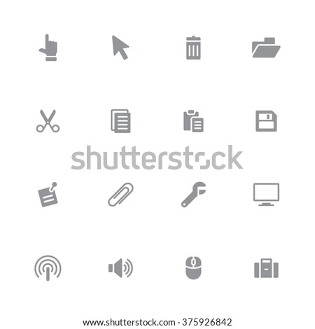 gray flat computer and technology icon set 3 for web design, user interface (UI), infographic and mobile application (apps) - stock vector