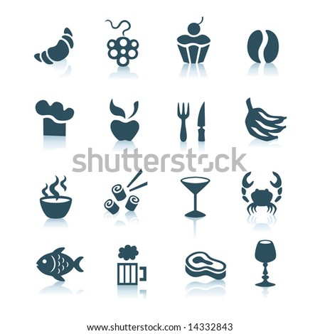 Gray food icons with shadows, part 2 - stock vector