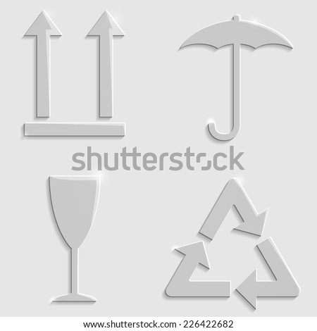 Gray glass package symbols with glow and shadows - stock vector