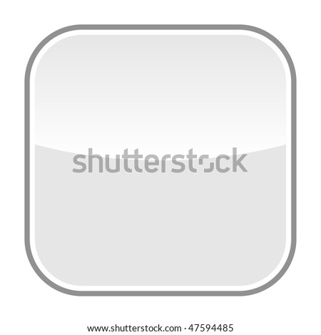 Gray glassy blank web button with gray frame on a white background - stock vector
