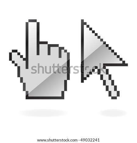 Gray glossy cursor and hand with shadow on white