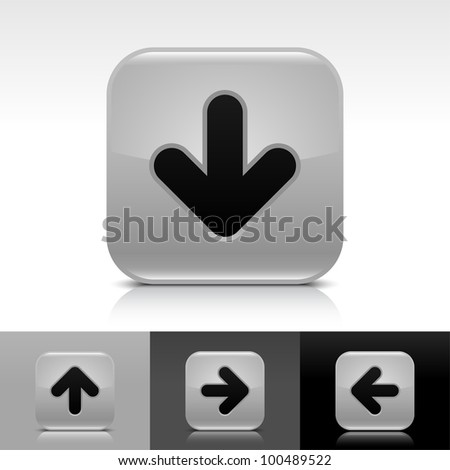Gray glossy web button with black arrow download sign. Rounded square shape icon with shadow, reflection on white, gray, black background. Vector 8 eps. - stock vector